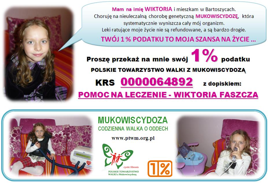 Przekaż 1% podatku na pomoc dla Wiktorii z Bartoszyc